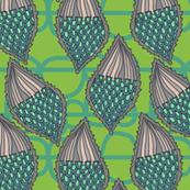 milkweed pods with bobbly background in leaf + dew