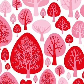 Cool fall autumn woodland forest trees scandinavian garden nature pink