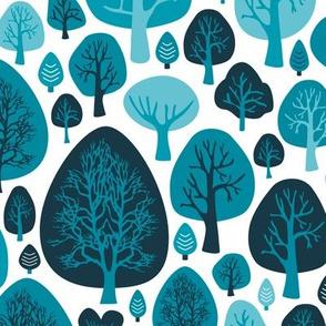 Cool winter woodland forest trees scandinavian garden nature blue