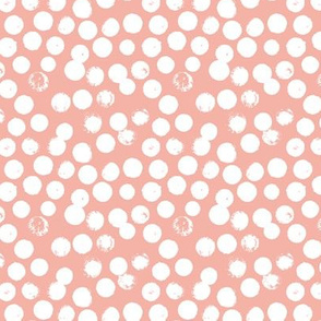 Pastel love brush circles, spots and dots and spots hand drawn ink illustration pattern scandinavian style in soft peach pink