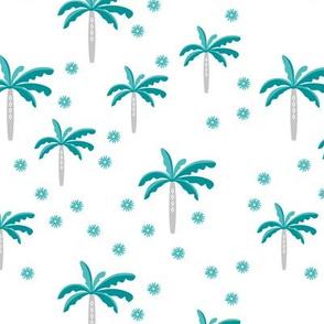 Summer palm tree beach coconut pastel bikini tropics illustration print in blue and beige