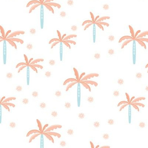 Summer palm tree beach coconut pastel bikini tropics illustration print in coral baby blue