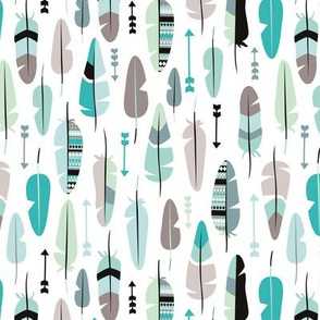 Geometric vintage feathers pastel arrows in mint and blue illustration pattern