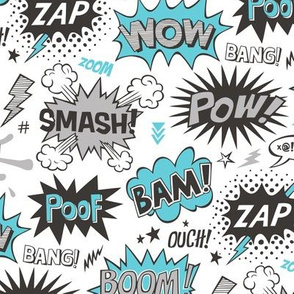 Superhero Comic Pop art Speech Bubbles Words Blue