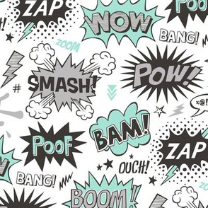 Superhero Comic Pop art Speech Bubbles Words Mint Green