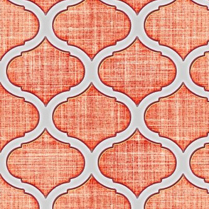 Morrocan Ogee Peach on faux linen
