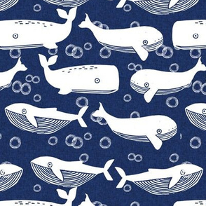 whales // whale navy blue kids ocean animals cute whales whale design