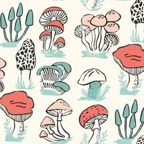mushrooms // mushroom linocut block print woodland forest toadstools