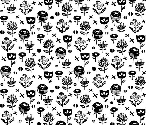 Flower nature study black and white linocut fall for Black and white childrens fabric