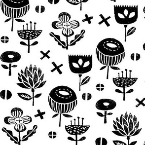 flower // nature study black and white linocut fall flowers autumn kids
