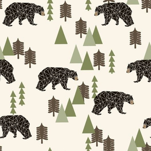 camping bear // avocado green cream vintage camping cute bear trees forest woodland