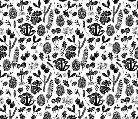 Black and white nature botanicals botanic fall kids for Black and white childrens fabric
