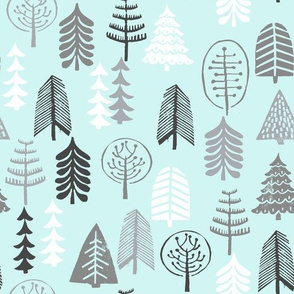 winter trees // winter forest tree stamp block print linocut