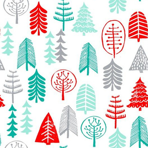 christmas trees // forest woodland trees holiday red and green