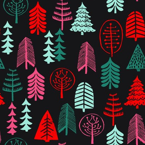 christmas tree // christmas tree forest holiday stamp linocut kids baby