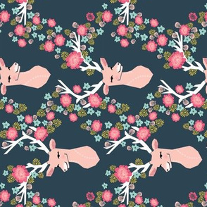 floral deer // deer head railroad flowers florals girls