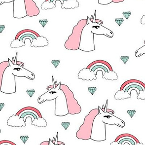 unicorn // pink and mint rainbows pink and mint unicorns white girls