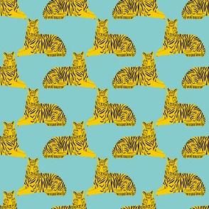 tiger // mint and yellow tigers safari animals cute baby  nursery fabric