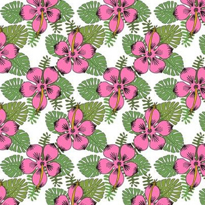 hibiscus // tropical summer flower monstera leaves ferns palms hawaii palm print