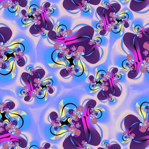 Fractal Butterflies and Leaves Purple and Yellow