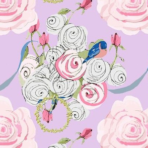 Bluebirds and Roses on lavender