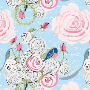 Bluebirds and roses on light blue with white french script