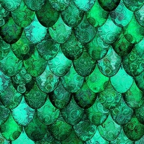 Dragon Scales for the Irish Dragon, in greens, by Su_G
