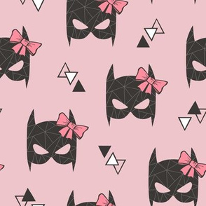 Girly Geometric Bat Mask with Pink Bow on Pink