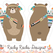 Cut and sew tribal woodland bear