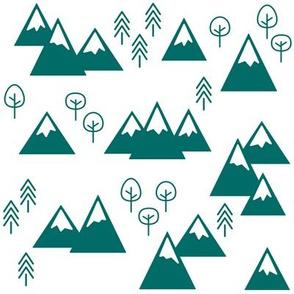 PNW Scene - Mountains &Trees Emerald on White