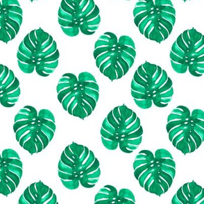 monstera palm leaf watercolor green tropical leaves palm print cute nature