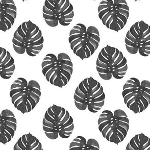 tropical black and white watercolor palm print