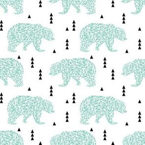 mint bear bear geo geometric triangles kids boys nursery