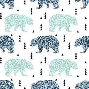 bear navy and mint bears bears kids boy nursery navy blue and mint fabric