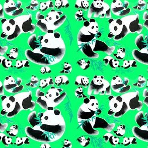 china chinese pandas bamboos baby babies animals plants watercolor