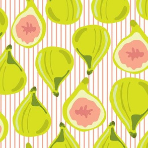 Multi-Directional Figs on Peach stripe_Miss Chiff Designs