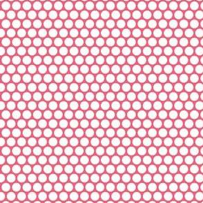 White Honeycomb Dot on Rose