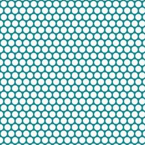 White Honeycomb Dot on Teal