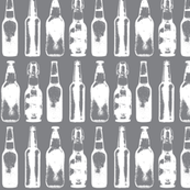 Vintage Beer Bottles on Grey - Small