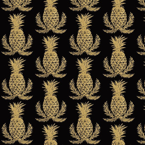 Gold Pineapples on Black