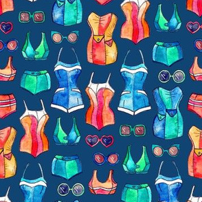 Sixties Swimsuits and Sunnies on dark blue