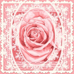 Bridal Rose Lace Pink Quilt Cushion