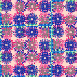 Winded Flowers Quilt Blue & Red