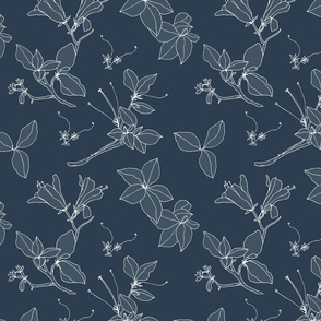 Stonecrop Floral Drawing, Pale Blue, Navy, White