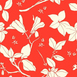 Stonecrop Floral, Cream on Red