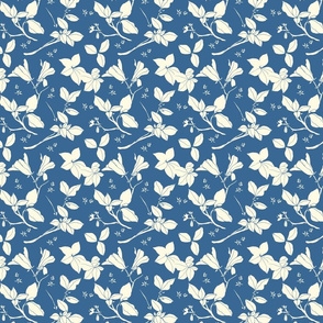 Stonecrop Floral, Cream on Blue