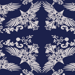 Raven Damask Silver on Blue 5inch