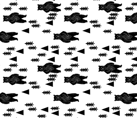 Forest bear black and white bear woodland trees kids for Black and white childrens fabric