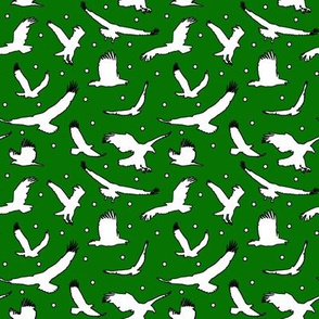 White Eagle Dots on Dark Green - Small