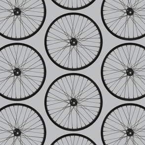 Bike wheel in black on gray